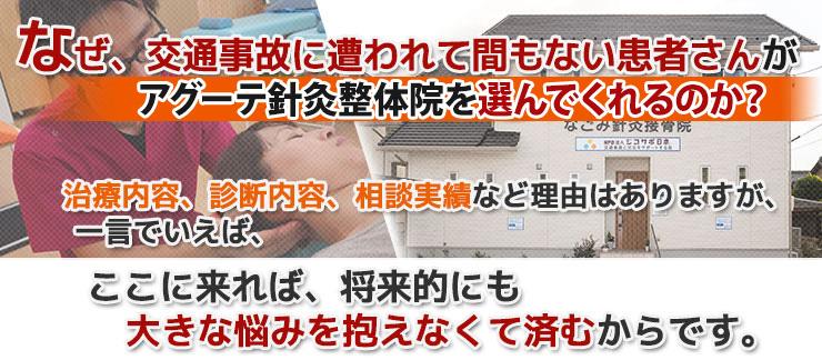 なぜ、交通事故に遭ってしまった患者さんが津島市のアグーテ針灸整体院にやってくるのか